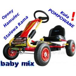 GOKART na pedały Baby Mix Stalowa Rama POMPOWANE KOŁA HIT 26