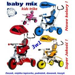 Solidny Rowerek 3w1 Baby Mix Kids Trike II +Daszek