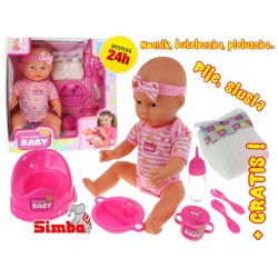 Simba Lalka siusiająca Bobas New Born Baby 43 cm + GRATIS !
