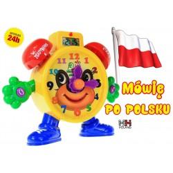 Uczący ZEGAR Interaktywny + LCD Mówiący PO POLSKU