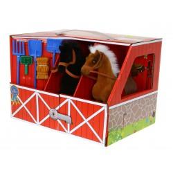 STAJNIA 2 Konie Koniki 18cm flokowane + akcesoria