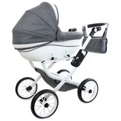 DUŻY POLSKI Wózek dla lalek lalkowy + EKO SKÓRA