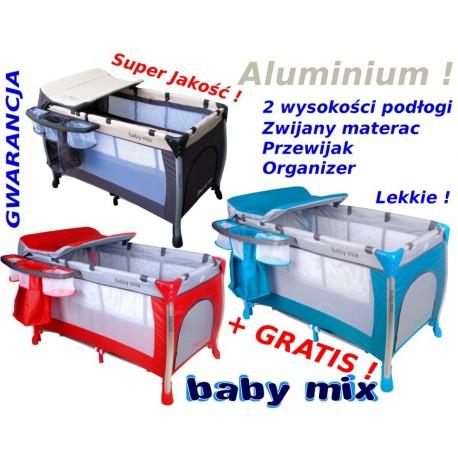 Baby Mix ŁÓŻECZKO TURYSTYCZNE 2 poziomy ALUMINIUM