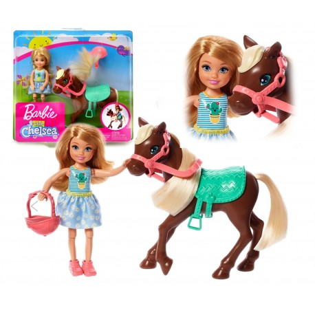 Lalka Barbie Club CHELSEA i KUCYK+akcesoria MATTEL