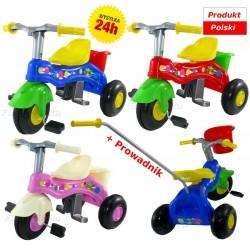 Solidny POLSKI Rowerek trójkołowy 3-kołowy +koszyk Mrowiec Toys