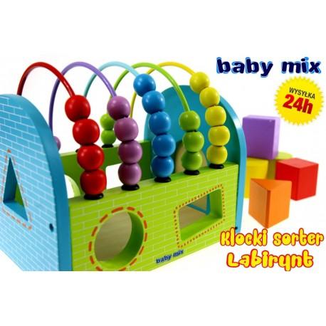 Baby Mix Duży Domek labirynt Sorter Klocki DREWNO