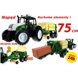 Traktor z prasą KOSTKUJĄCĄ belarką do słomy 75 cm!