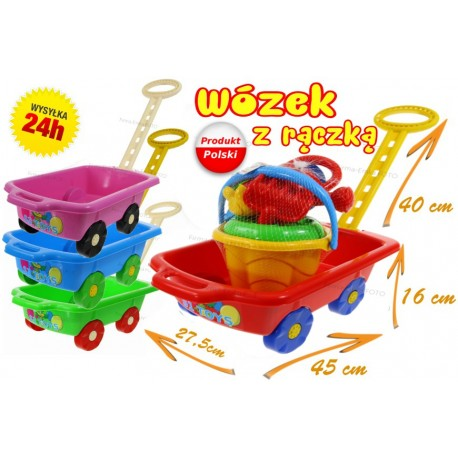 POLSKI Wózek z rączką Taczka + ZESTAW DO PIASKU