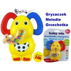 BABY MIX Grzechotka Gryzaczek Słonik z DŹWIĘKIEM