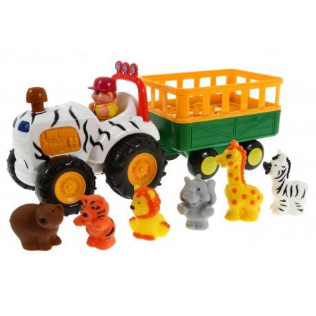 DUMEL Traktor FARMER SAFARI + 6 Zwierzątek ODGŁOSY