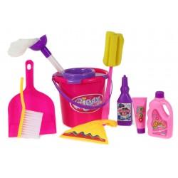 DUŻY Zestaw do sprzątania zabawkowy. 10 elementów