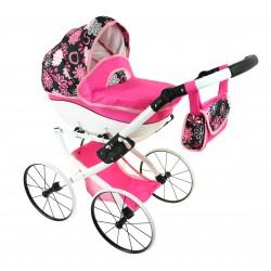 DUŻY Solidny POLSKI Wózek dla lalek lalkowy RETRO róż