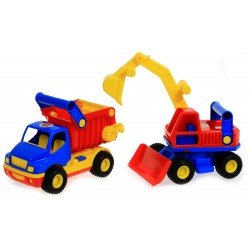 WADER 0452 Ciężarówka WYWROTKA ConsTruck + KOPARKA