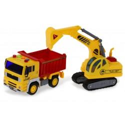 SŁUŻBY MIEJSKIE Ciężarówka Wywrotka + Koparka 2w1