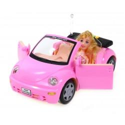 Różowe Autko Garbus kabriolet dla lalki. Ot. drzwi
