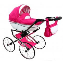 POLSKI Wózek dla lalek CHROMOWANY RETRO + SKÓRA