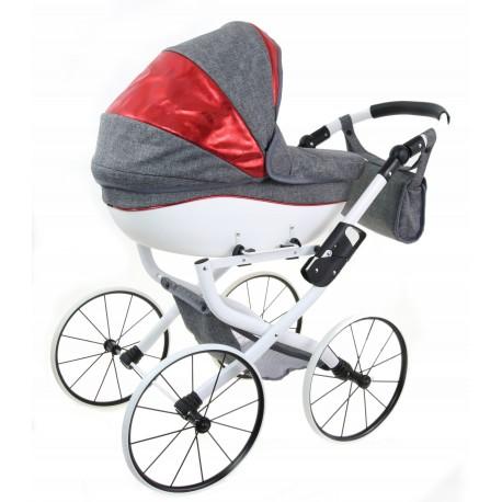 DUŻY POLSKI Wózek dla lalek lalkowy RETRO + SKÓRA
