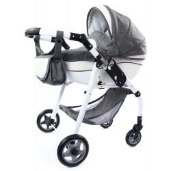 POLSKI Wózek dla lalek lalkowy EKO SKÓRA Skręt kół