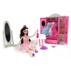 Lalka księżniczka z AKCESORIAMI Szafa + 2 sukienki