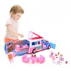 Auto VAN Kamper dla lalek z wyposażeniem Akcesoria