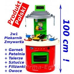 OGROMNA Kuchnia  KUCHENKA 100cm 2w1+naczynia PRODUKT POLSKI Mrowiec Toys