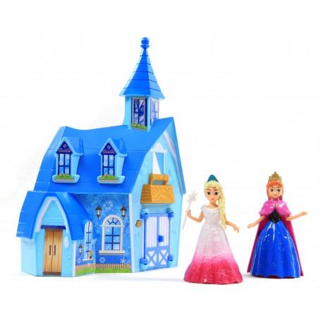 Zimowa chatka LODOWA KRAINA lalki+mebelki Dźwięk!
