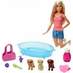 Lalka Barbie Kąpiel 3 Piesków + akcesoria MATTEL
