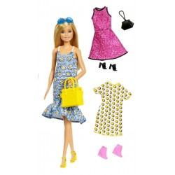Lalka Barbie 3 sukienki+akcesoria Moda Styl MATTEL