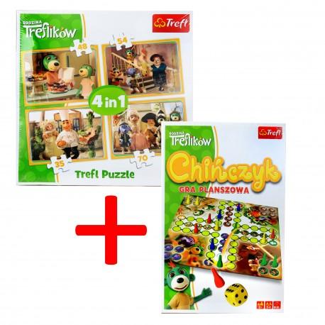 Puzzle 4w1 + GRATIS Gra Planszowa CHIŃCZYK Trefl