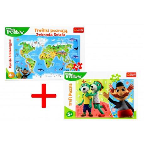 Puzzle Zwierzęta Świata + GRATIS Puzzle 100 Trefl