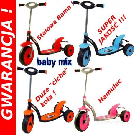 SUPER Hulajnoga 3 kołowa Baby Mix Duże ciche koła